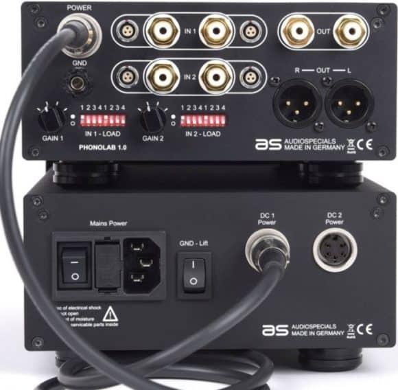 Phonovorverstärker Audiospecials Phonolab 1.0 und PSU 1.2 Detailansicht hinten