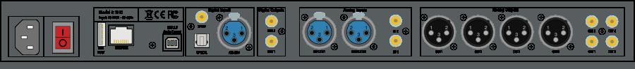 Anschlüsse des MiniDSP SHD Vorverstärkers mit Dirac Live Raumentzerrung und Streamer