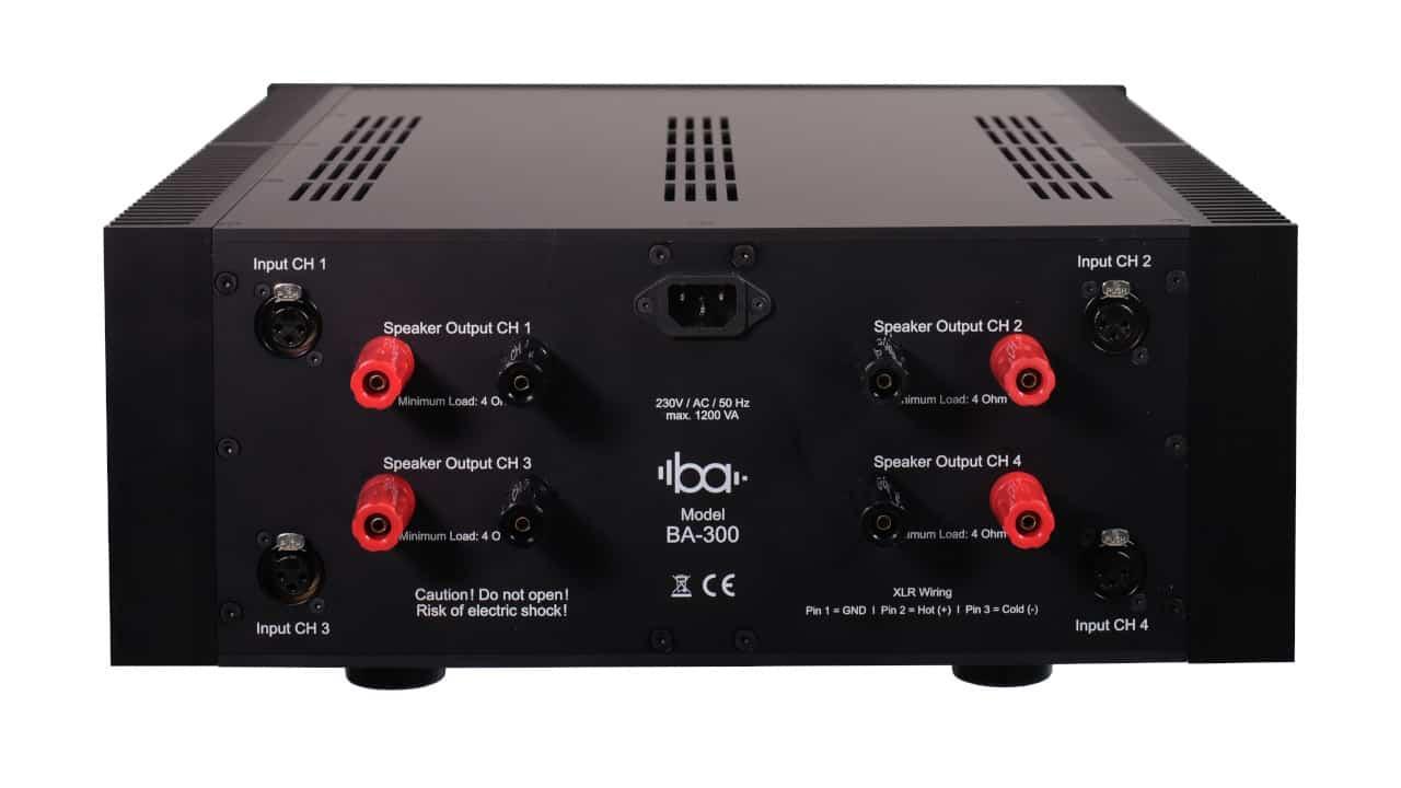 Rückseite BA-300 von Bohne Audio: High End 4-Kanal Endstufe Class AB mit 4 x 350 Watt