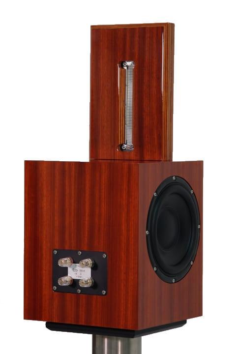 Bohne Audio BB-8 Kompaktlautsprecher Furnier Padouk schraeg von hinten