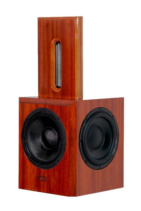 Bohne Audio BB-8 Kompaktlautsprecher Studiomonitor Padouk Furnier seitlich von vorne